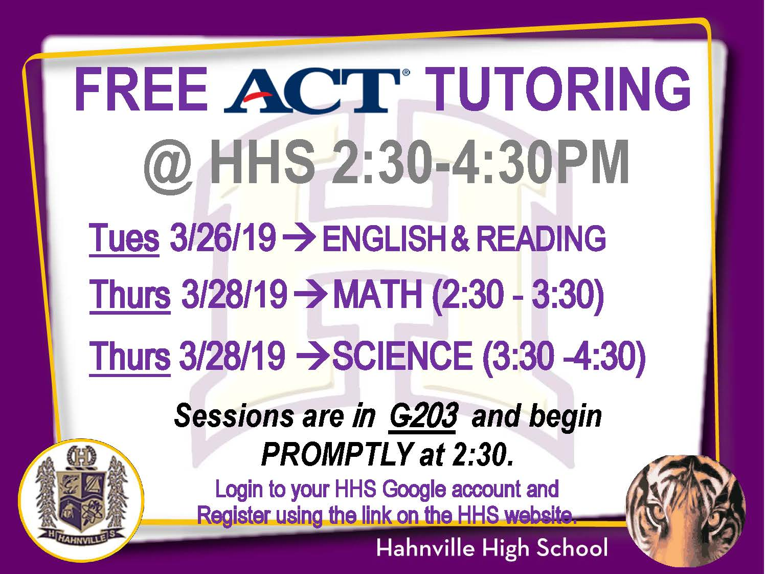 Free ACT Tutoring to Be Offered