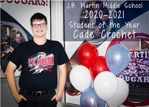 Image of J.B. Martin's student of the year candidate.