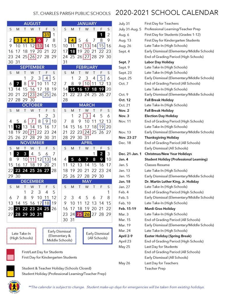 2020 2021 School Calendar Approved