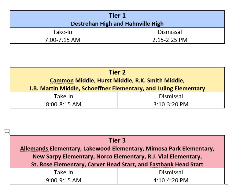 School Take-In and Dismissal Times