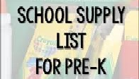 Pre K Supply List